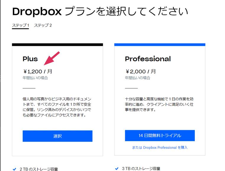 Dropboxの公式プラン